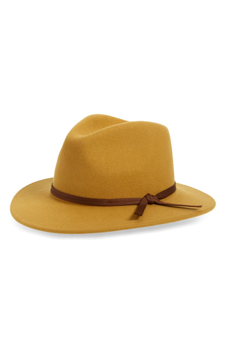BRIXTON Coleman Felted Wool Fedora, Main, color, MAIZE