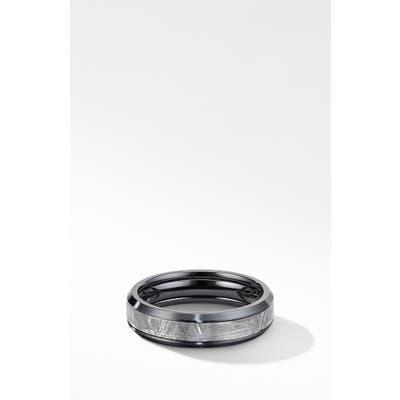 David Yurman Beveled Band Ring In Black Titanium With Meteorite