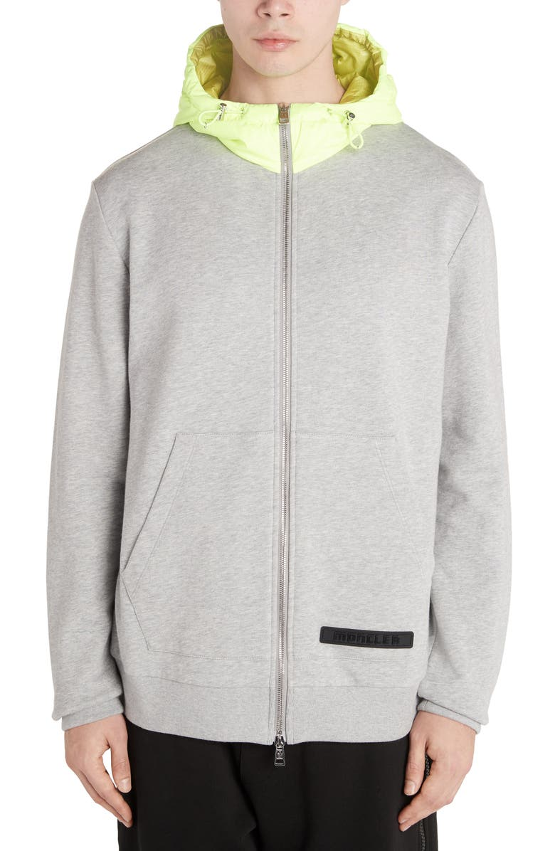 MONCLER Zip Front Hooded Sweatshirt, Main, color, LIGHT GREY