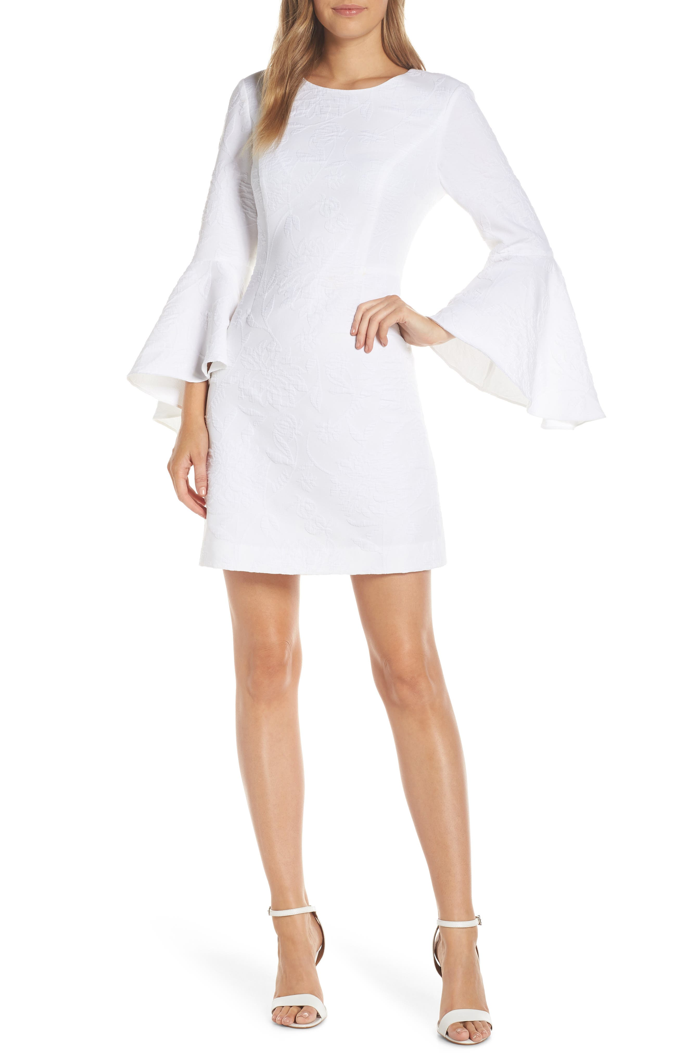 Kayla Bell Sleeve Dress, Main, color, RESORT WHITE CALIENTE PUC