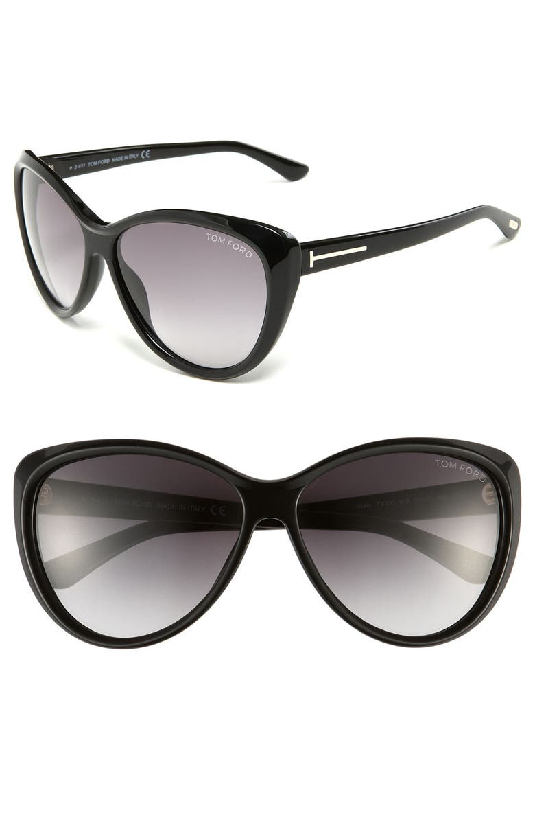 TOM FORD 61mm Cat Eye Sunglasses, Main, color, 001