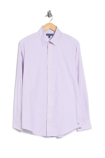 Image of Peter Millar Armstrong Check Perf Oxford Shirt