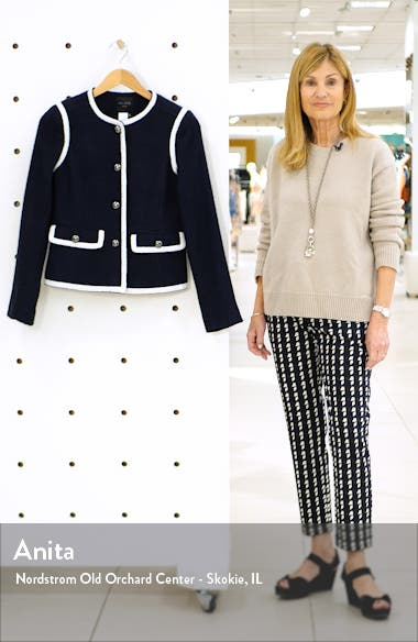 Contrast Trim Tweed Jacket, sales video thumbnail