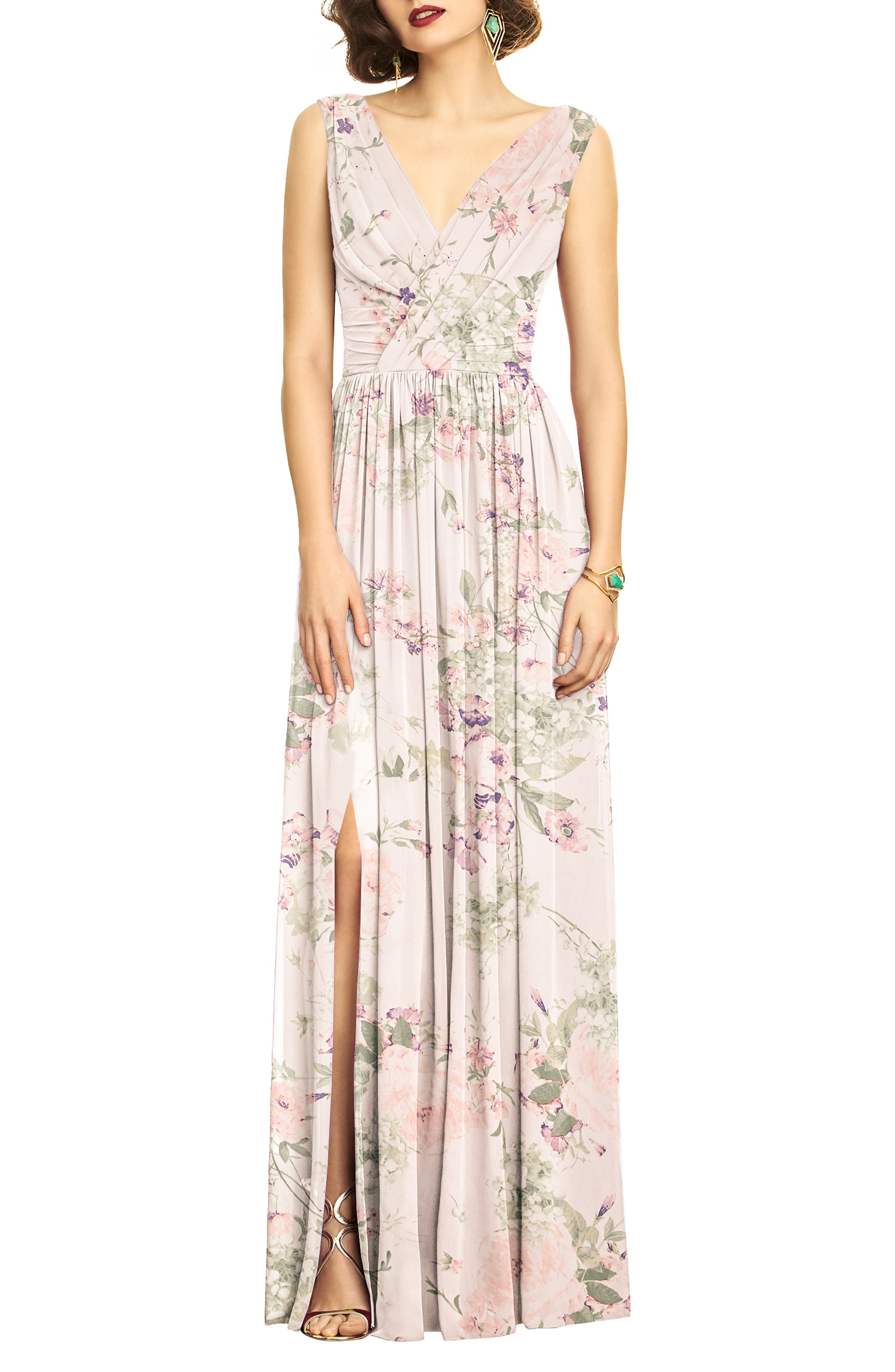 Dessy Collection Lux V-Neck Chiffon Gown (Regular & Plus)
