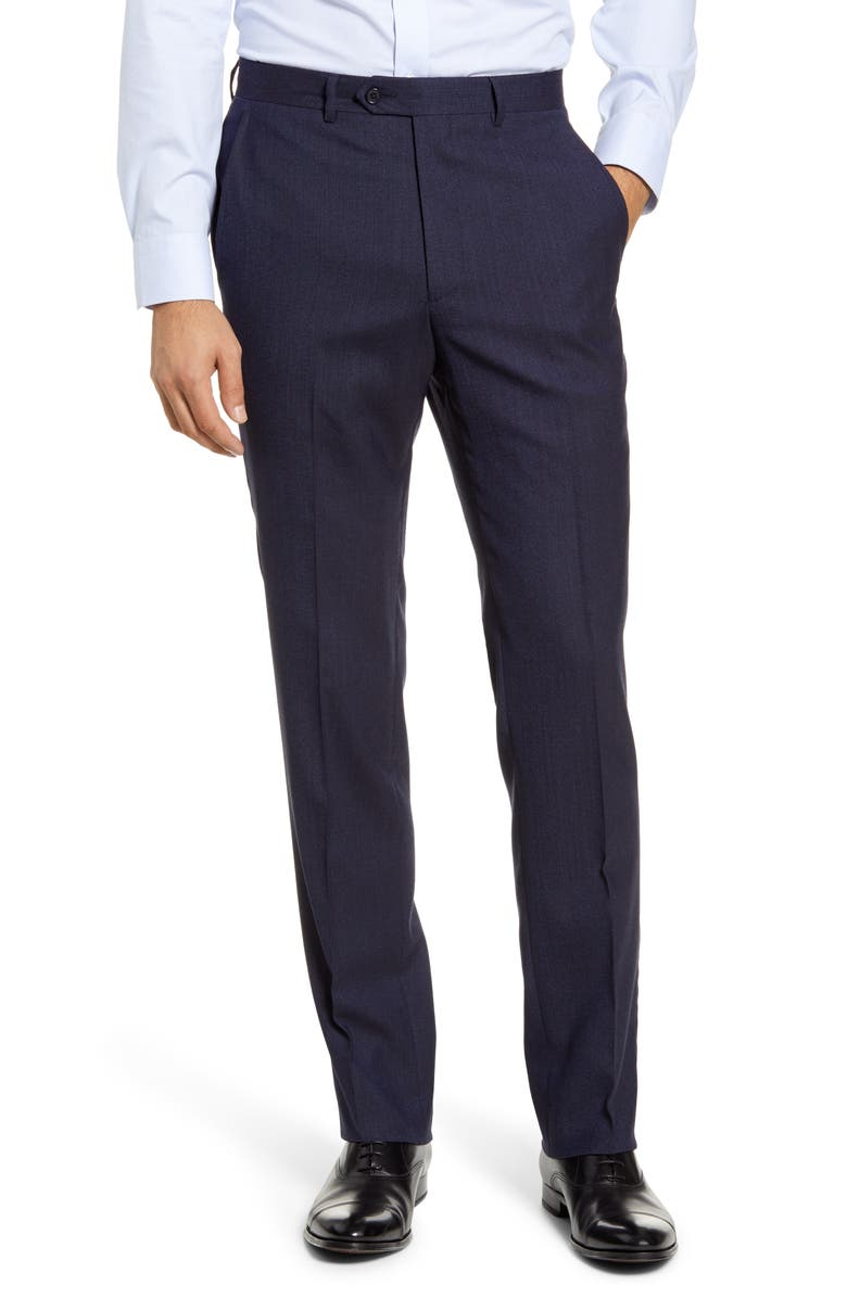 SANTORELLI Flat Front Stretch Solid Wool Trousers, Main, color, NAVY