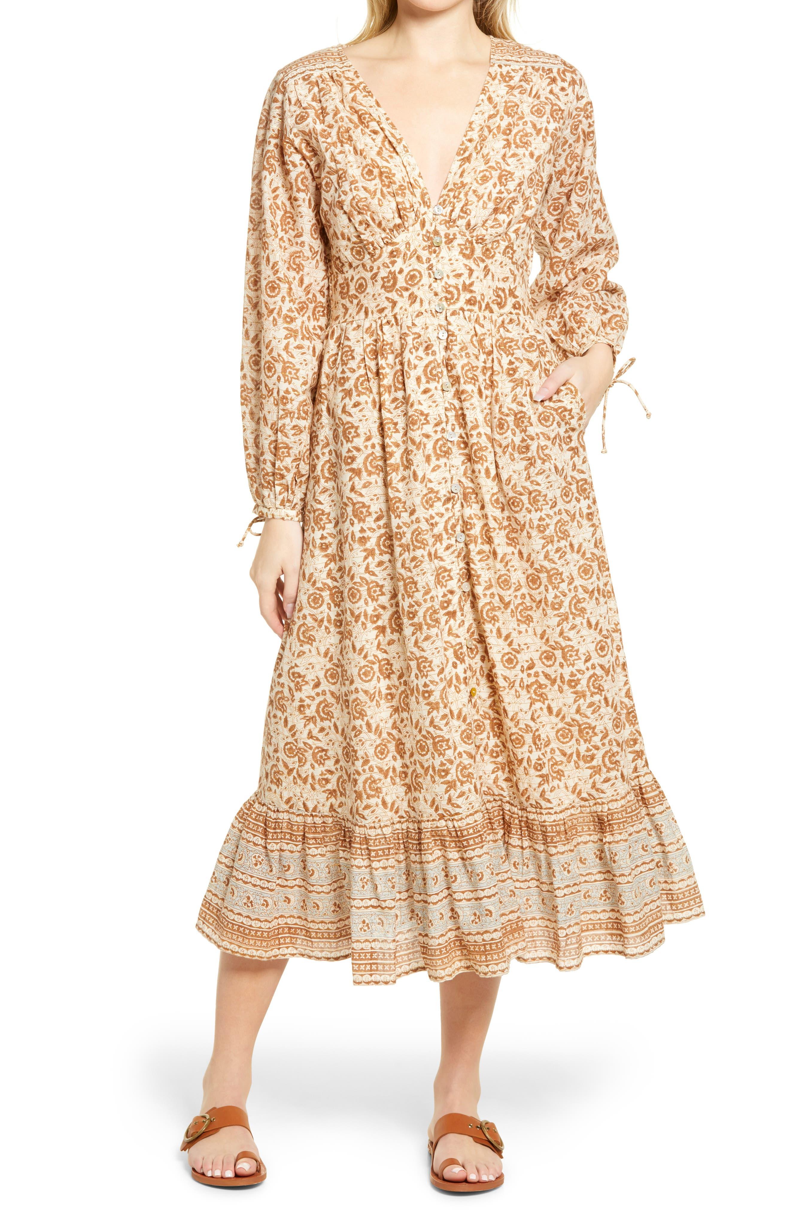Valentin Print Long Sleeve Midi Dress
