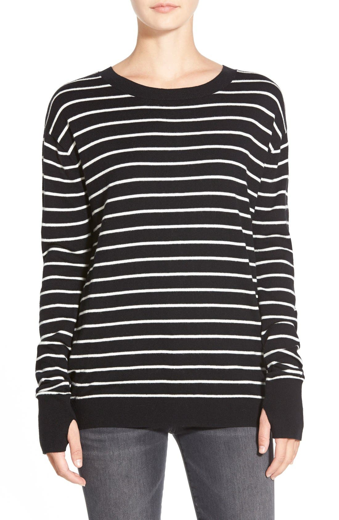 Twisted Back Pullover, Main, color, 001