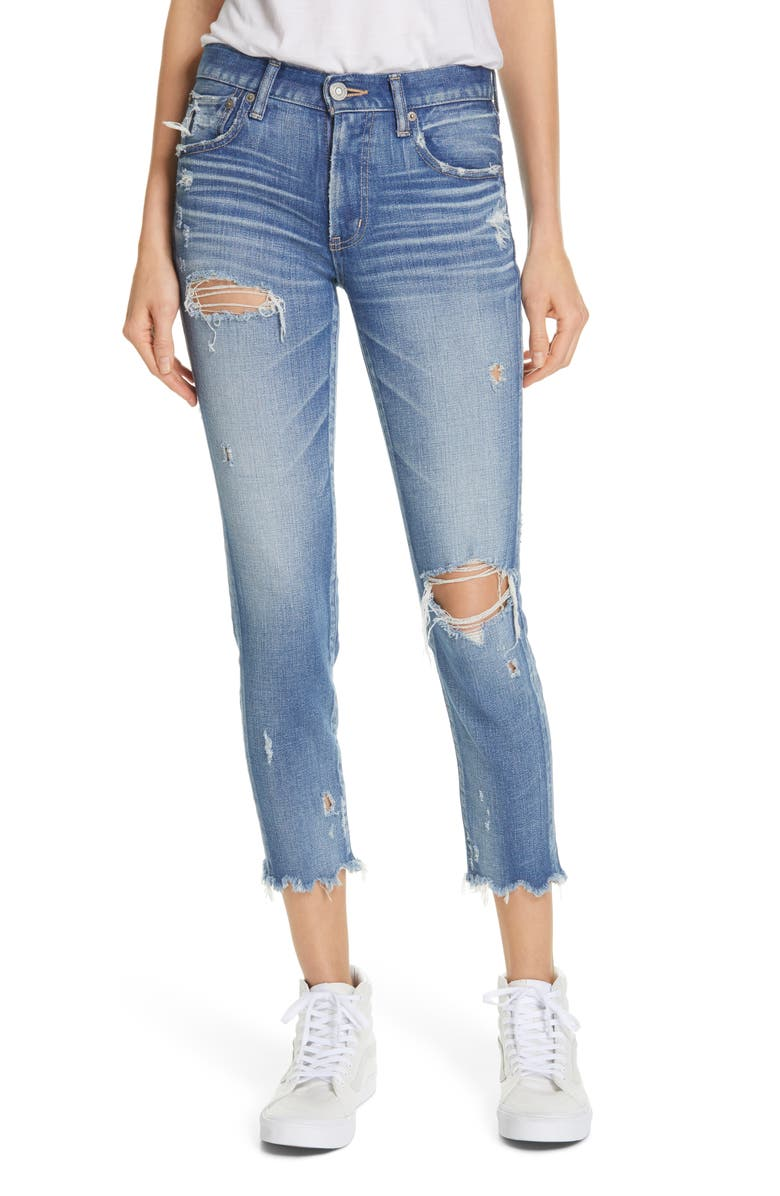 MOUSSY VINTAGE Ridgewood Ripped Crop Skinny Jeans, Main, color, LIGHT BLUE