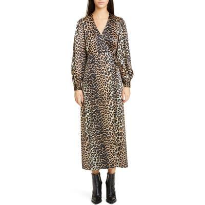 Ganni Leopard Print Long Sleeve Silk Satin Midi Wrap Dress, US / 4 - Brown