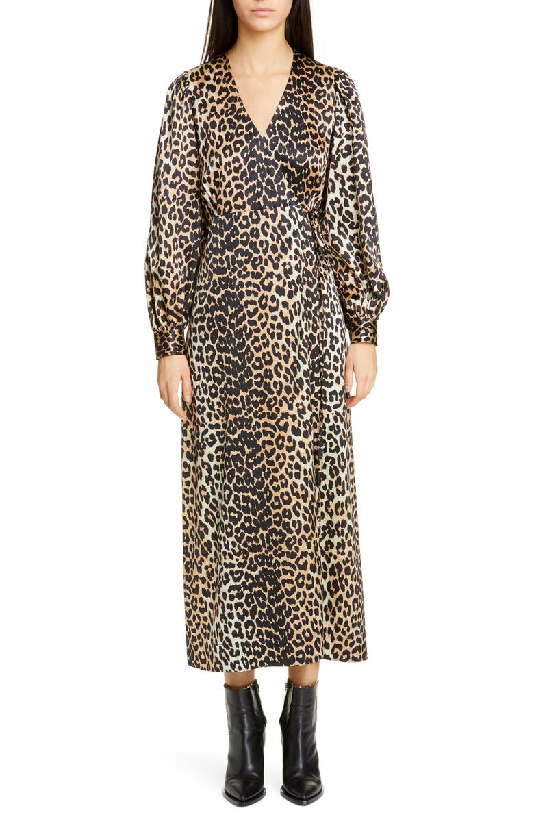 GANNI Leopard Print Long Sleeve Silk Satin Midi Wrap Dress, Main, color, LEOPARD