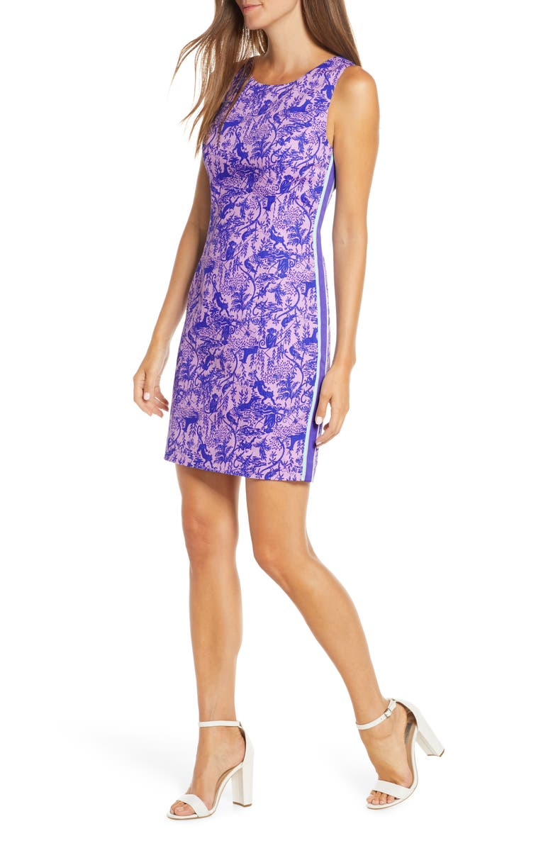 LILLY PULITZER<SUP>®</SUP> Mila Stretch Cotton Sheath Dress, Main, color, LILAC FREESIA SAFARI