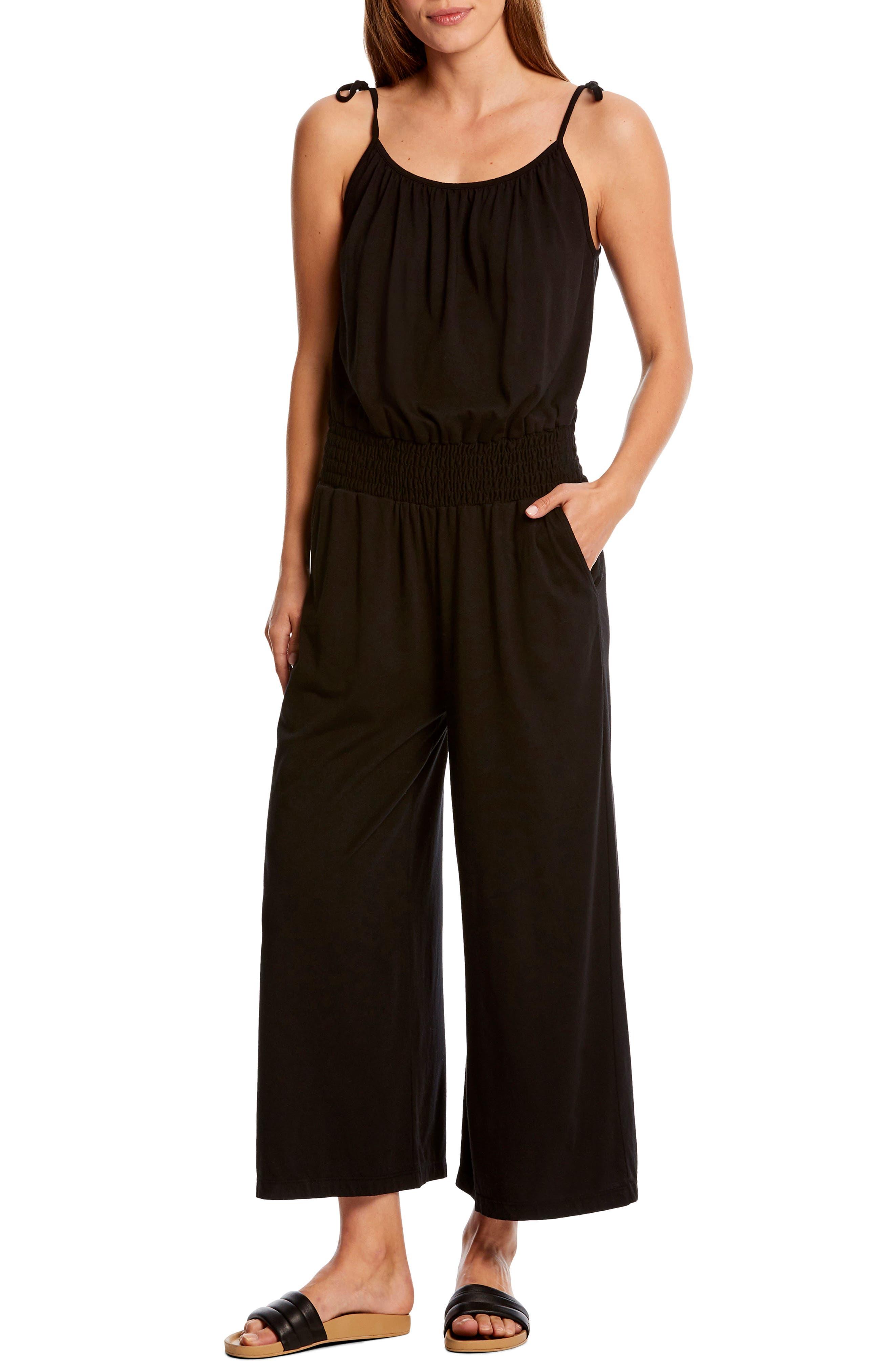 Michael Stars Jane Tie Shoulder Crop Jumpsuit, Black