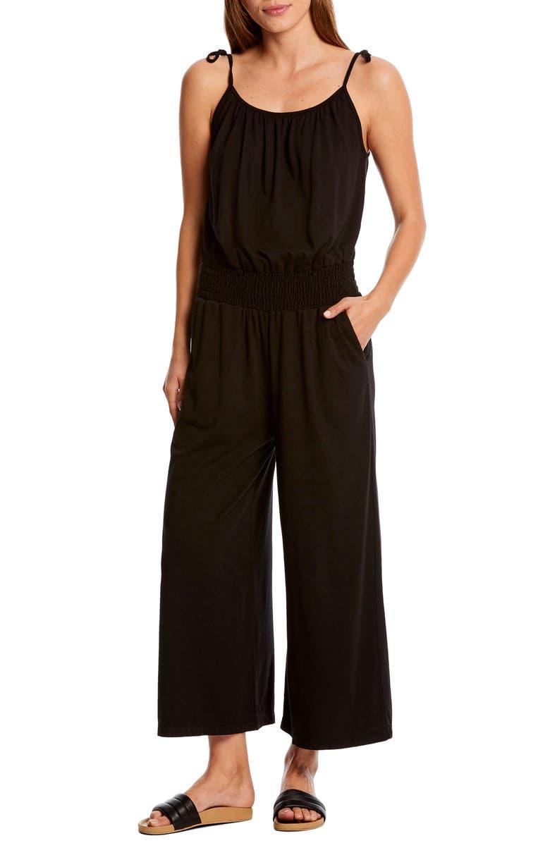 MICHAEL STARS Jane Tie Shoulder Crop Jumpsuit, Main, color, 001
