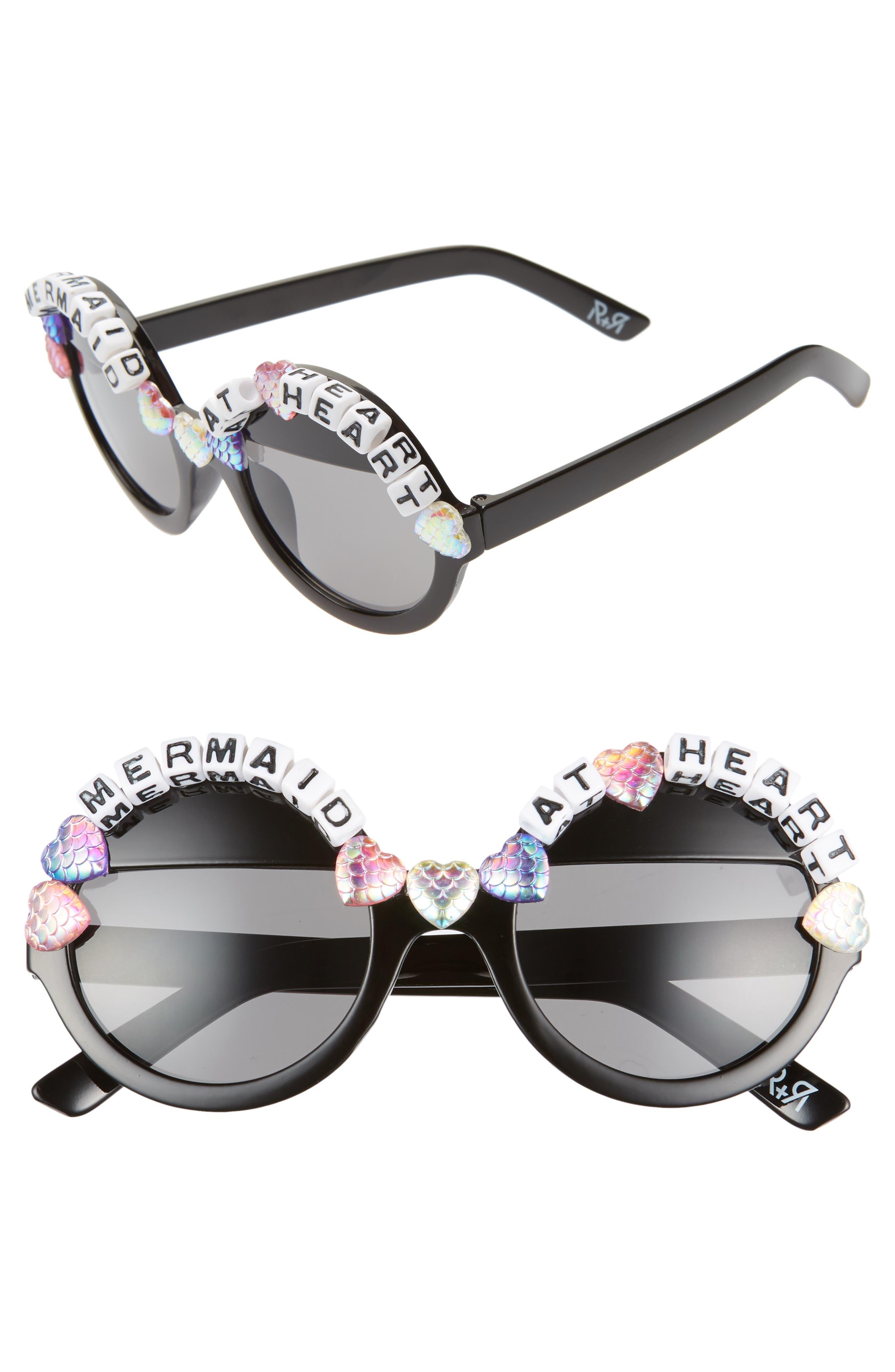 Rad + Refined Mermaid At Heart Round Sunglasses - Black/ Multi