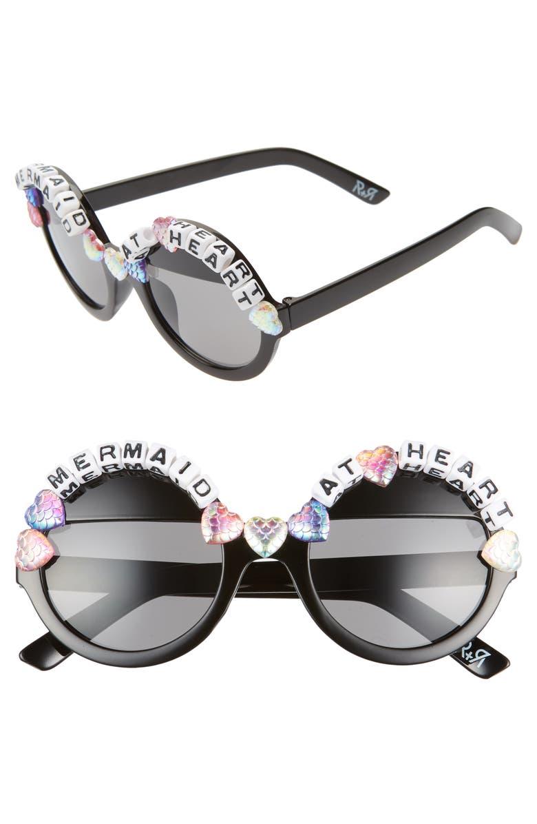 RAD + REFINED Mermaid At Heart Round Sunglasses, Main, color, BLACK/ MULTI