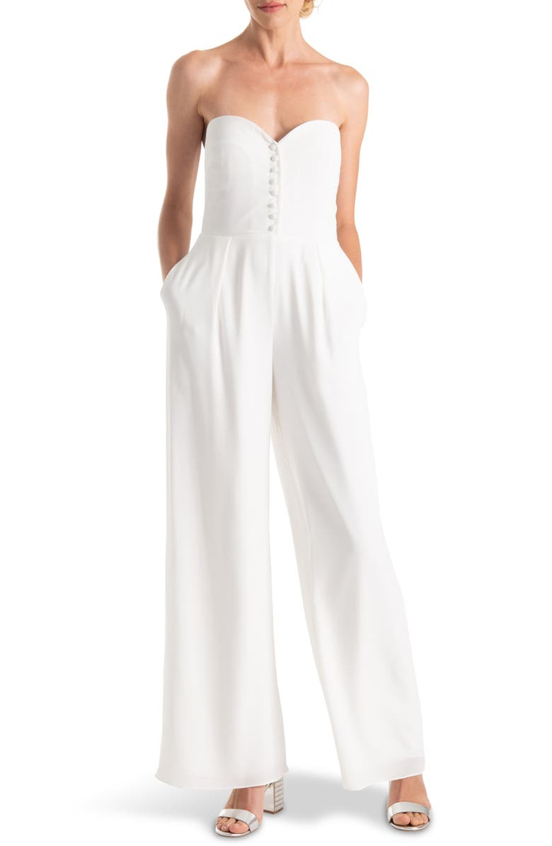 JOANNA AUGUST Aretha Strapless Jumpsuit, Main, color, 100