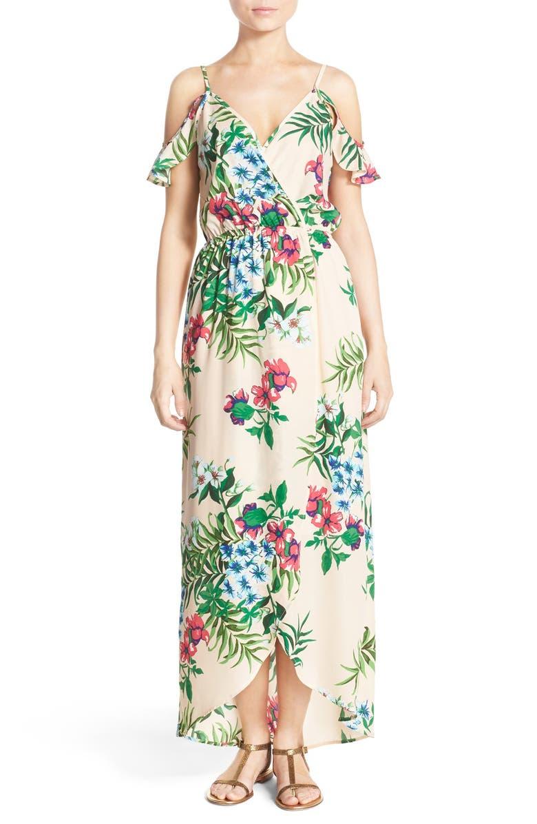 FRAICHE BY J Cold Shoulder High/Low Maxi Dress, Main, color, PEACH