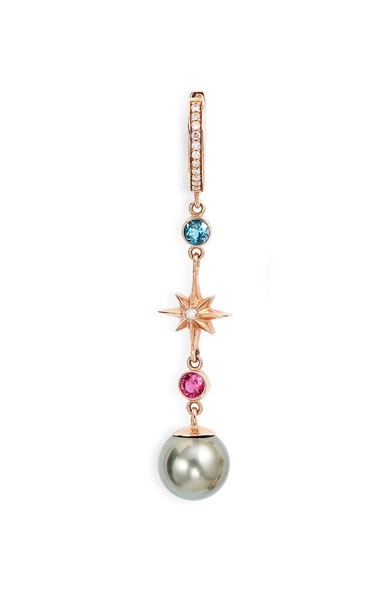 MARLO LAZ Elixir Single Linear Pearl, Diamond & Stone Drop Earring, Main, color, 712