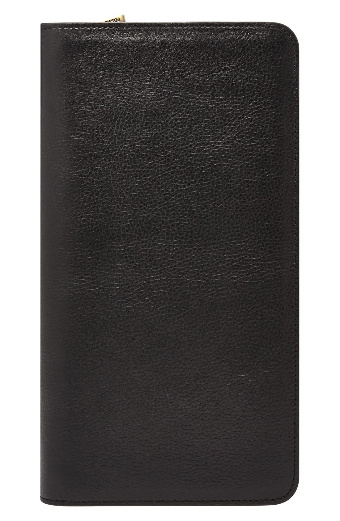 Leather Zip Passport Case, Main, color, BLACK