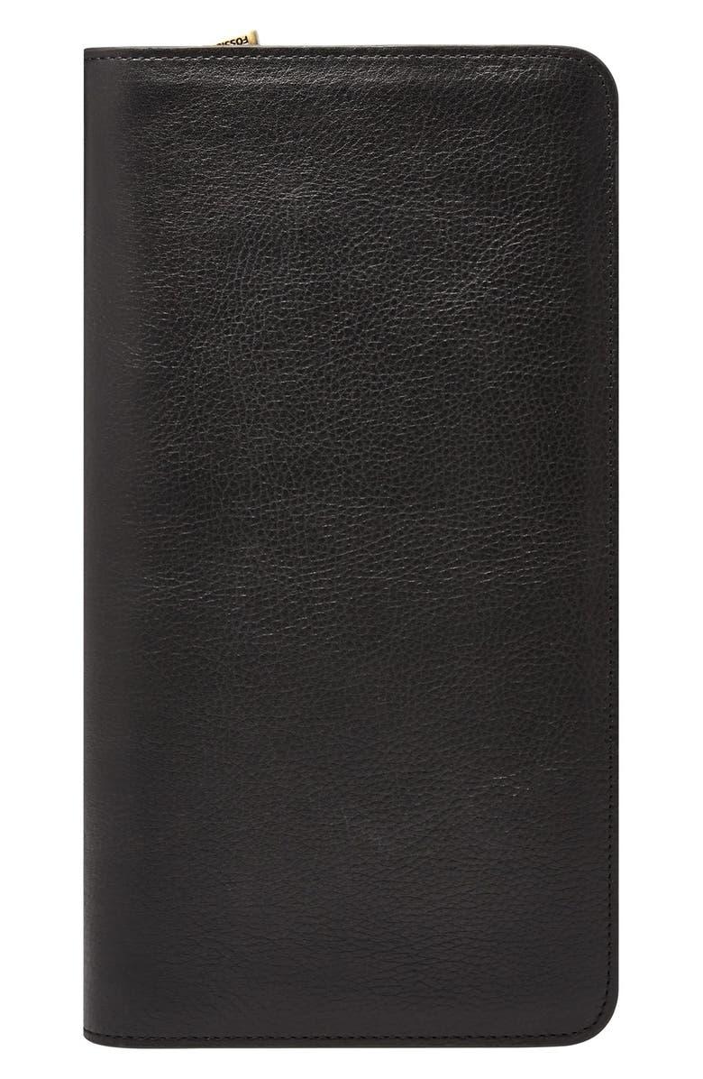 FOSSIL Leather Zip Passport Case, Main, color, BLACK