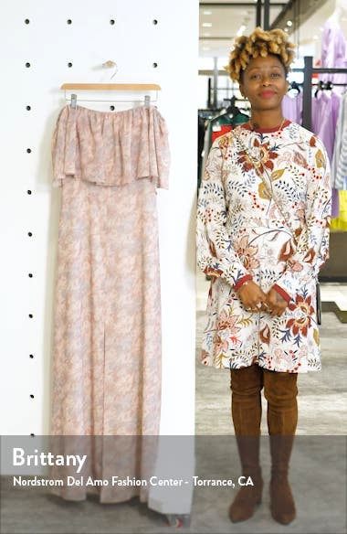 Floral Popover Off the Shoulder Chiffon Gown, sales video thumbnail