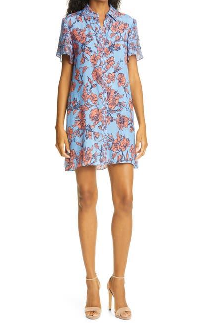 Image of alice + olivia Jem Sketch Floral Print Flutter Sleeve Shirtdress