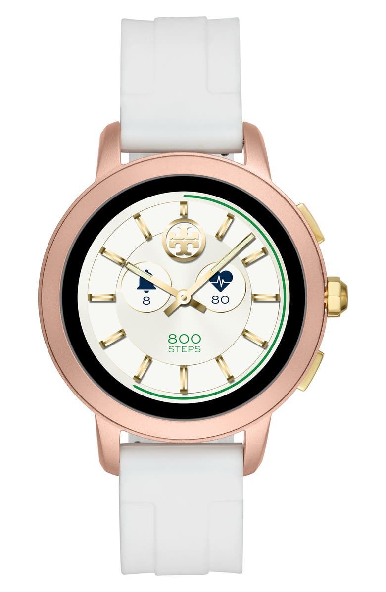 TORY BURCH ToryTrack Touchscreen Silicone Smart Watch, 42mm, Main, color, WHITE/ PINK ALUMINUM