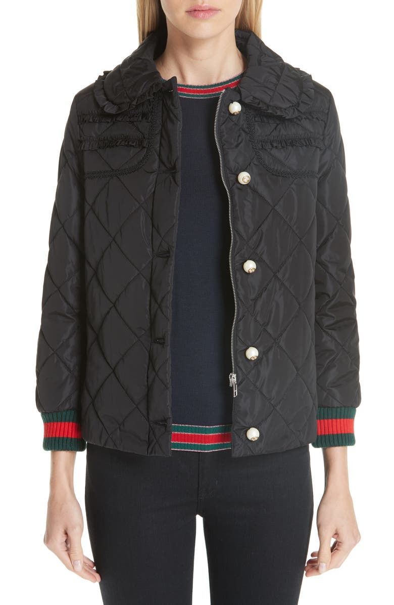 GUCCI Ruffle Trim Quilted Caban, Main, color, NERO