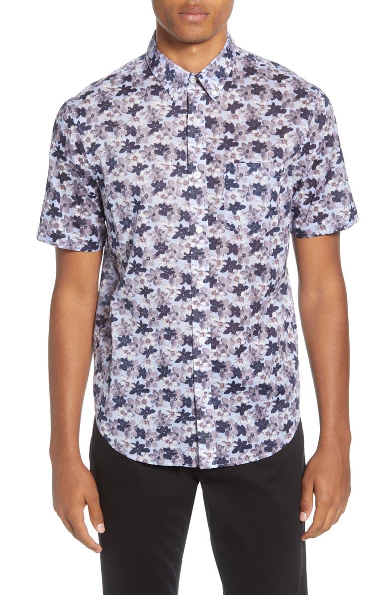 CLUB MONACO Baja Blossom Slim Fit Short Sleeve Button-Down Shirt, Main, color, BLUE MULTI