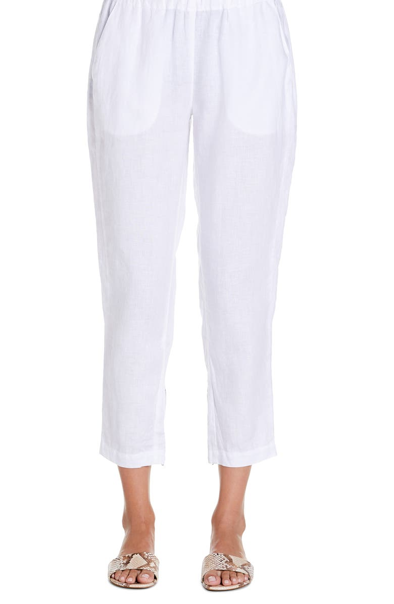 MICHAEL STARS Rima Tapered Crop Linen Pants, Main, color, 100