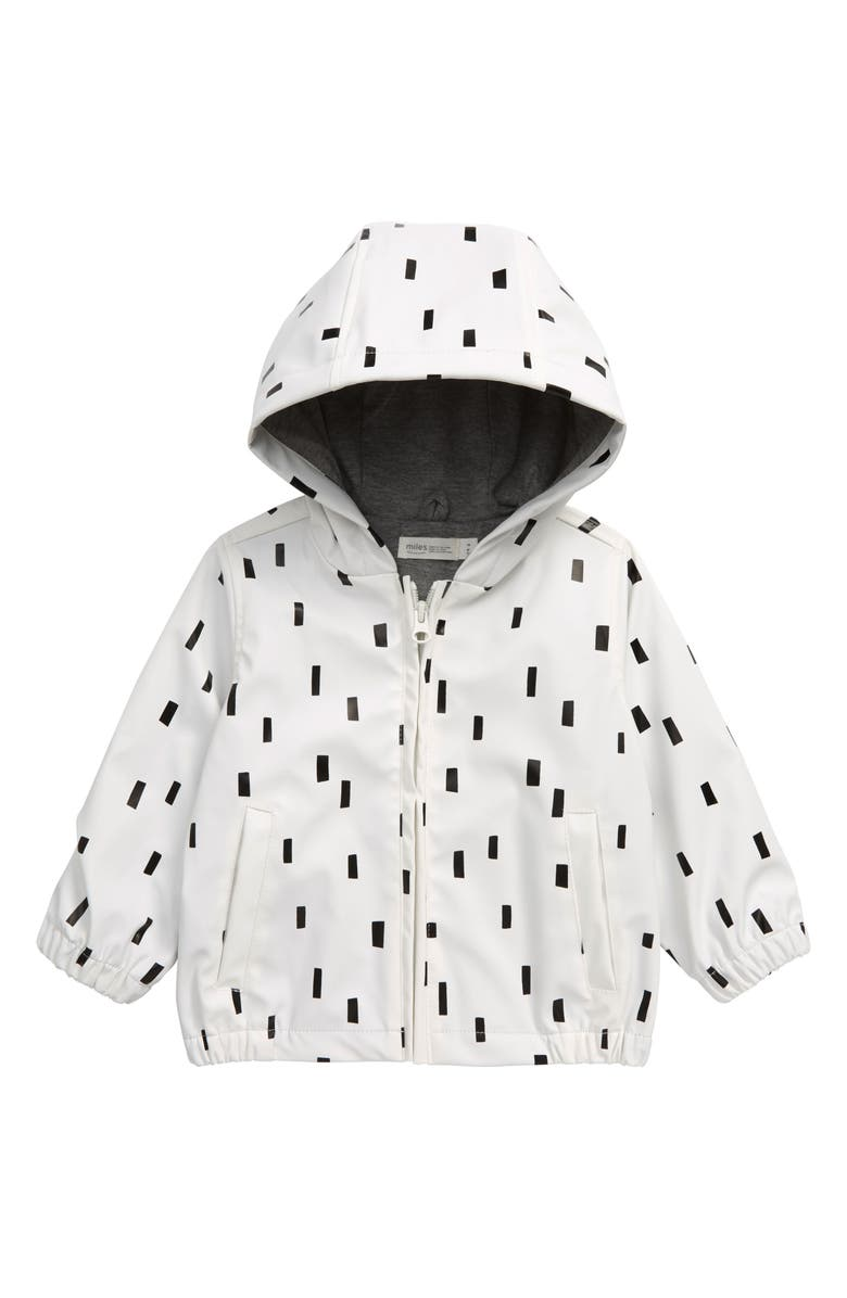 MILES baby Hooded Raincoat, Main, color, OFF WHITE
