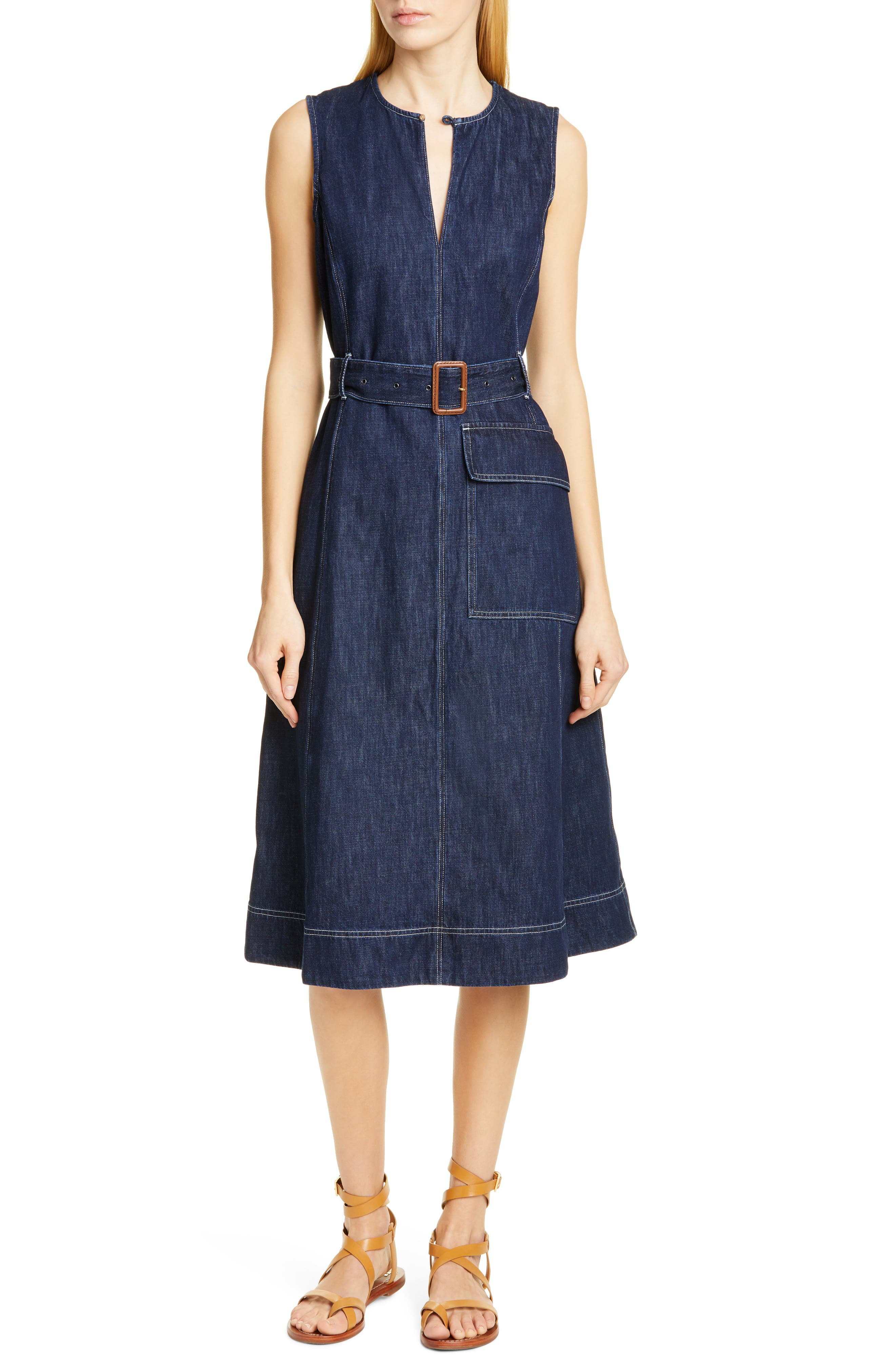 Polo Ralph Lauren Bevlry Denim Midi Dress, Blue