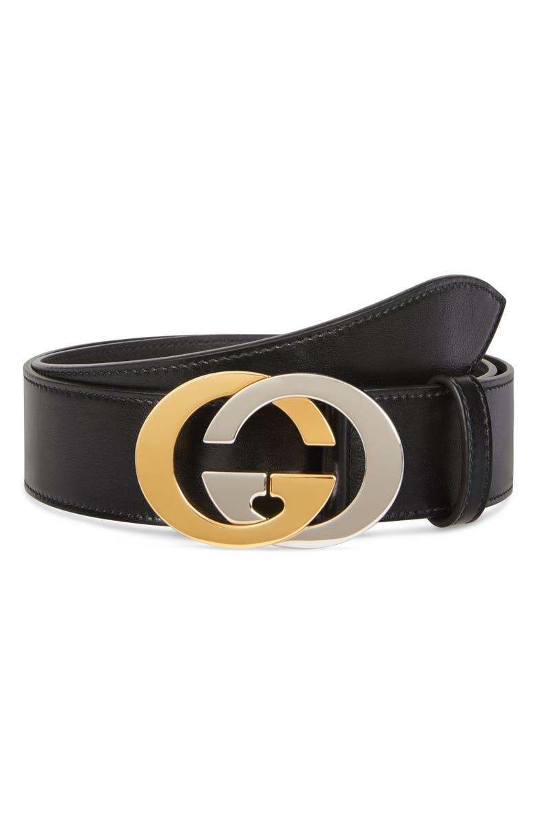 GUCCI Two-Tone GG Buckle Leather Belt, Main, color, BLACK