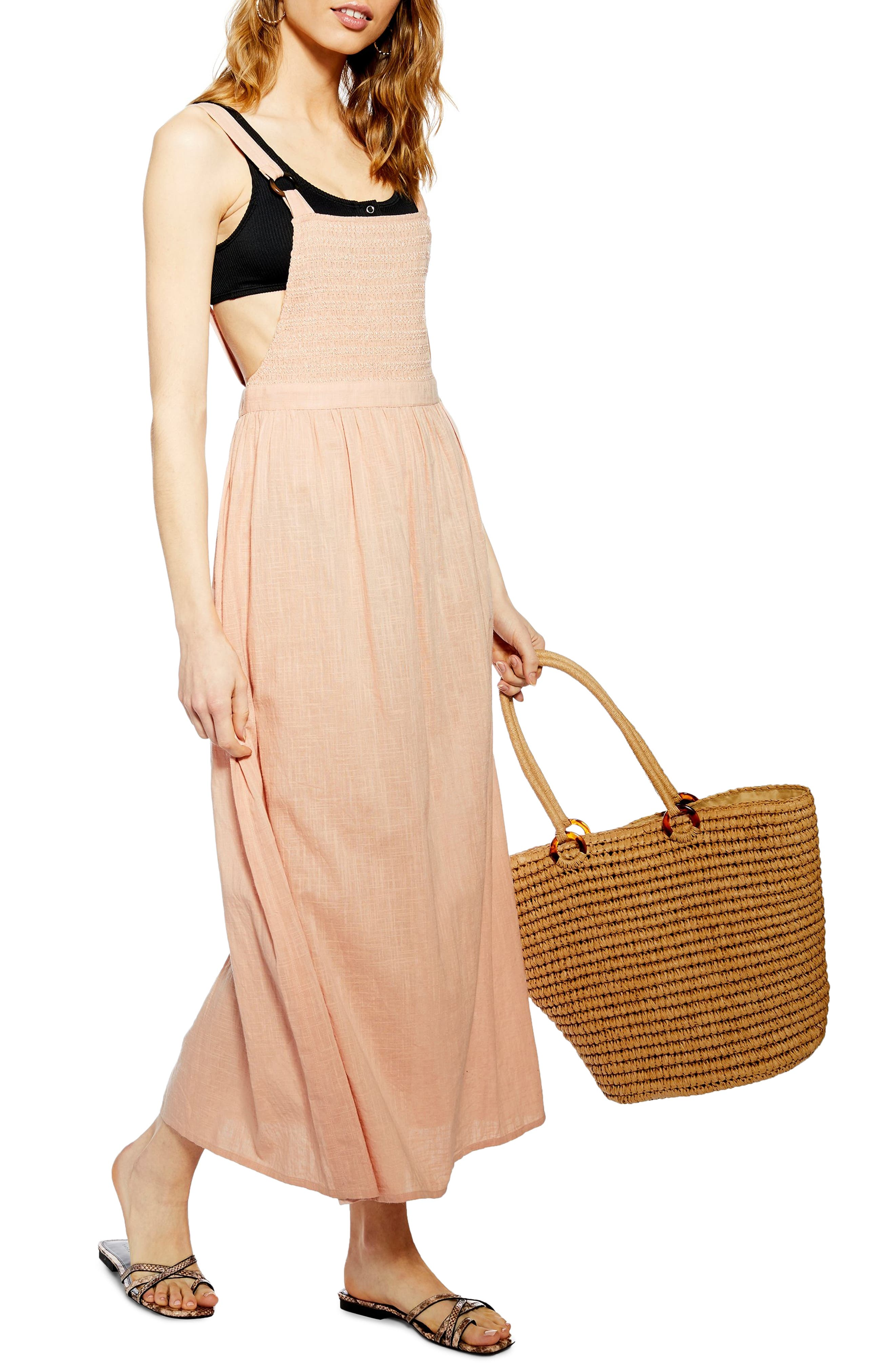 Tosphop Shirred Bodice Cover-Up Maxi Dress, Pink