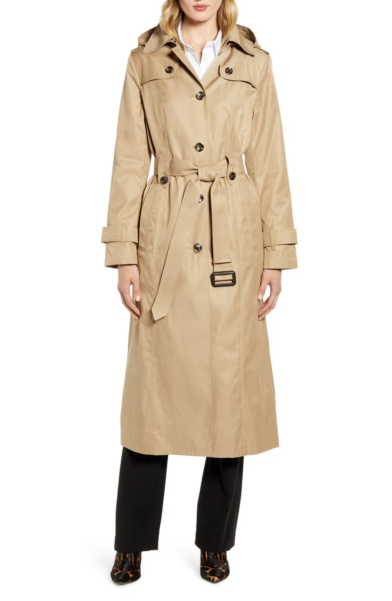 LONDON FOG Long Hooded Trench Coat, Main, color, 252