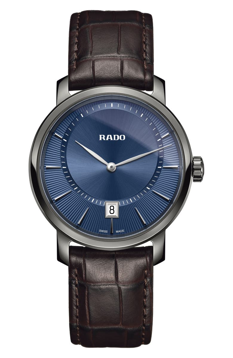 RADO DiaMaster Leather Strap Watch, 40mm, Main, color, BROWN/ BLUE/ GUNMETAL