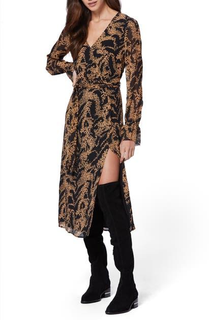 Paige Dresses CHAMOMILE LONG SLEEVE SILK GEORGETTE MIDI DRESS