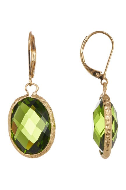 Image of Rivka Friedman 18K Gold Clad Faceted Peridot Crystal Satin Oval Hammered Earrings