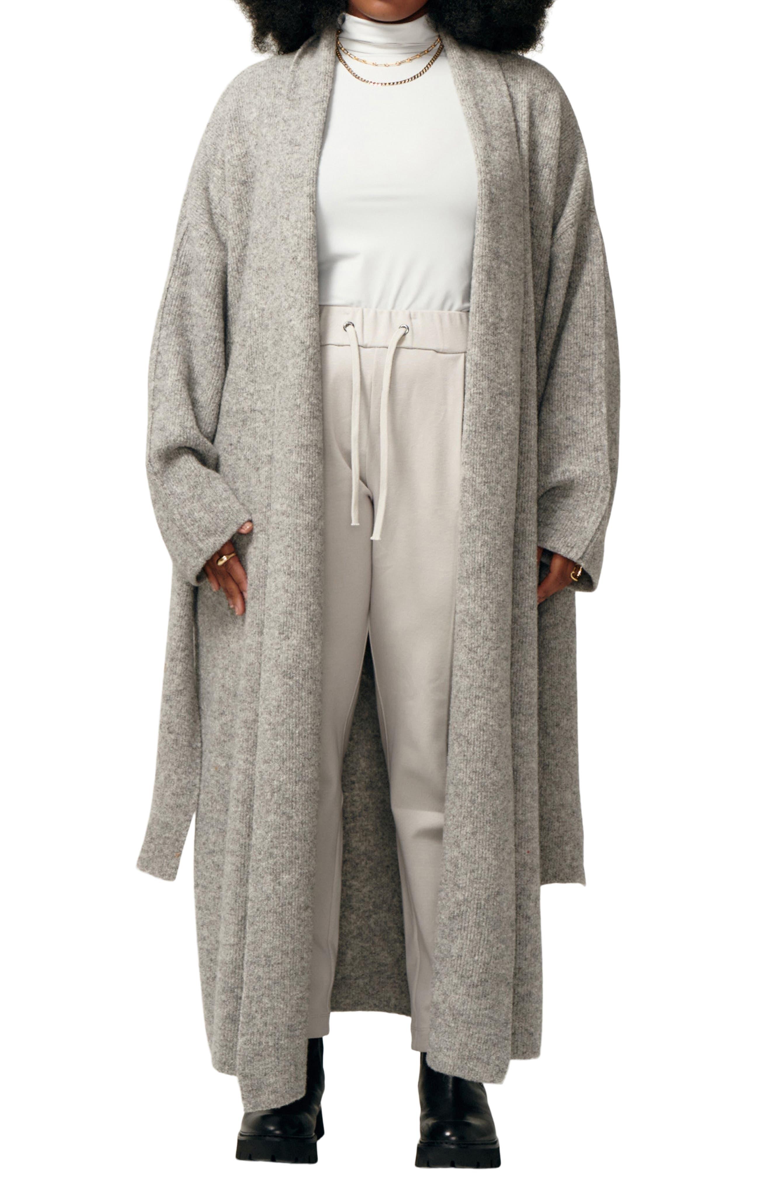Love Language Oversize Ribbed Merino Wool Wrap Coat