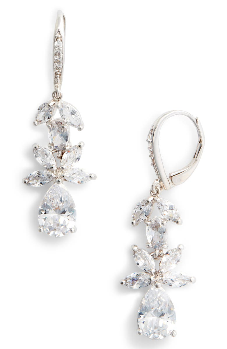 NINA Floral Cubic Zirconia Earrings, Main, color, WHITE/ SILVER