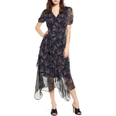 Astr The Label Floral Print Handkerchief Hem Dress, Black