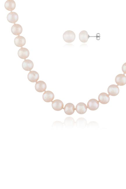 Image of Splendid Pearls Rhodium Plated Sterling Silver 7-8mm Freshwater Pearl Necklace & Stud Earrings 2-Piece Set