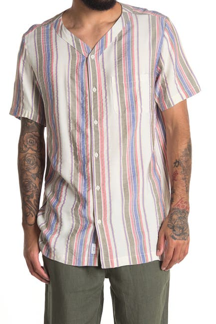 Image of Onia Luca Collarless Stripe Regular Fit Shirt