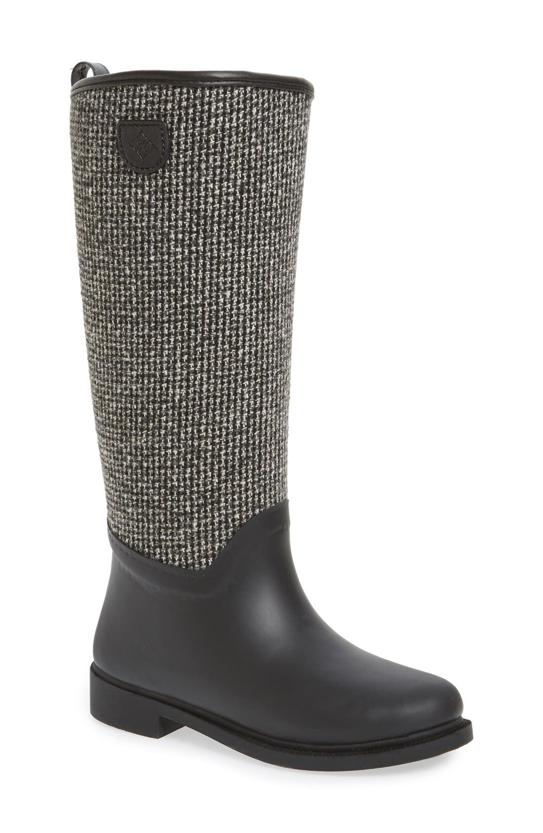 Cardiff Tweed Knee High Waterproof Rain Boot, Main, color, BLACK