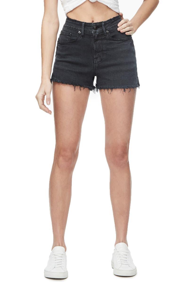 GOOD AMERICAN High Waist Cutoff Denim Shorts, Main, color, 001