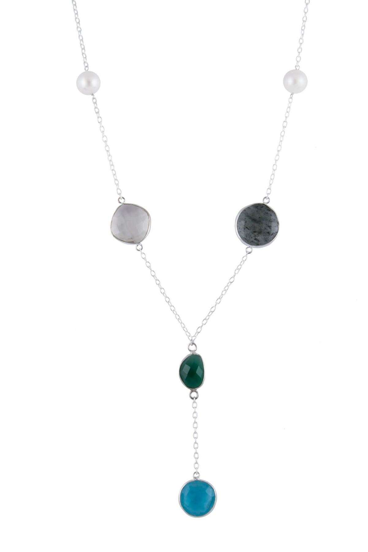 Image of Splendid Pearls Sterling Silver 8-9mm Freshwater Pearl & Quartz Station Pendant Necklace