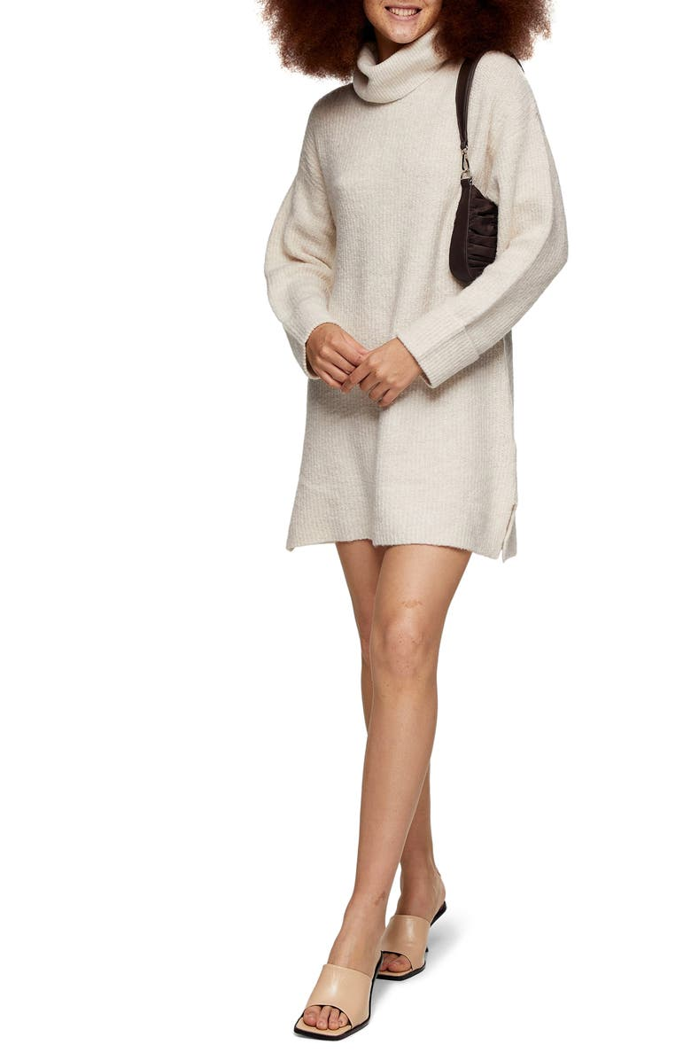 TOPSHOP Funnel Neck Sweater Dress, Main, color, OATMEAL