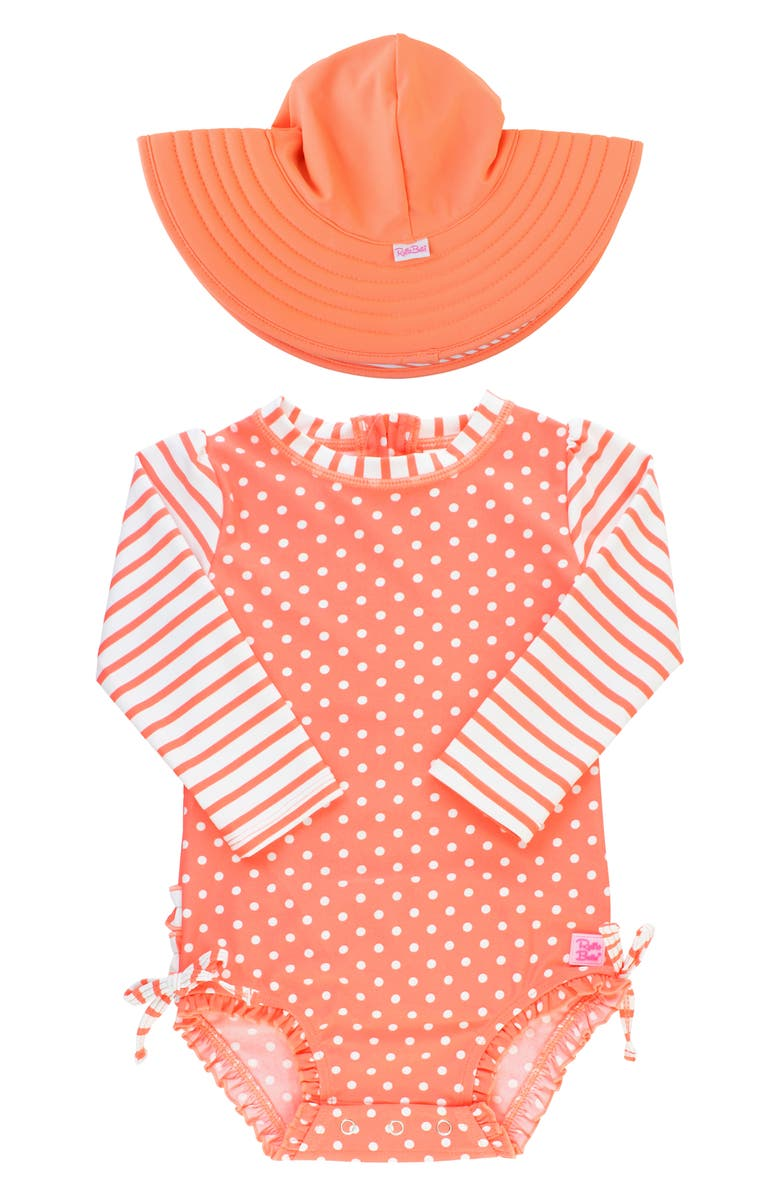 RUFFLEBUTTS Coral One-Piece Rashguard Swimsuit & Hat Set, Main, color, CORAL