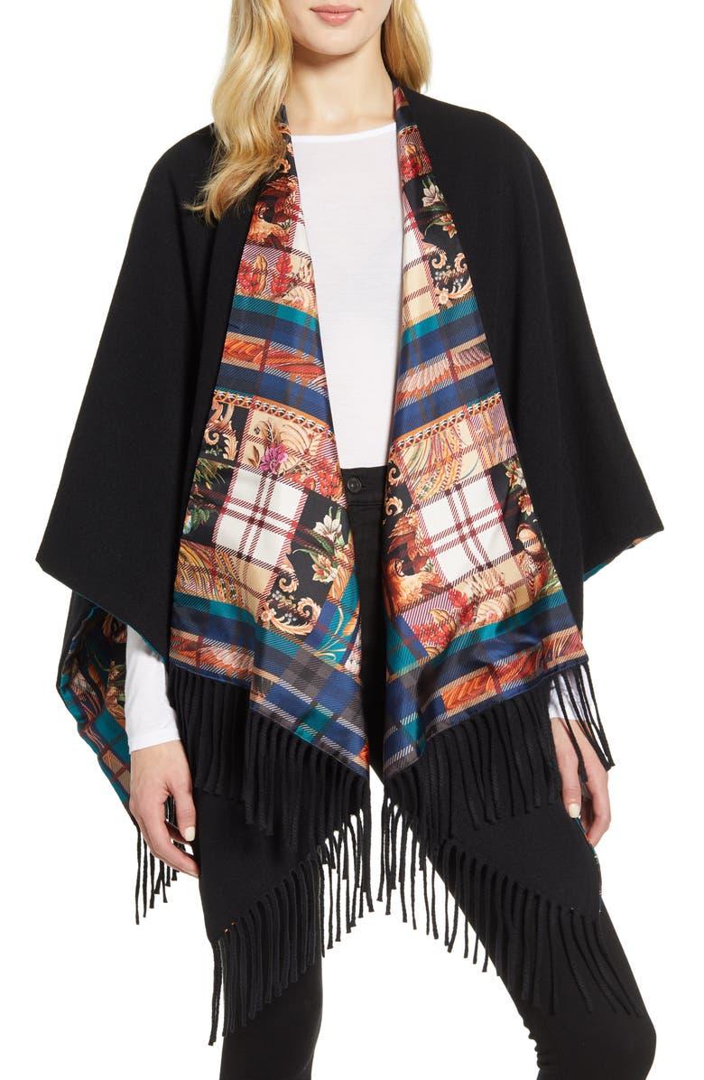 SALVATORE FERRAGAMO Susanne Tartan Plaid Wool & Cashmere Wrap, Main, color, 001