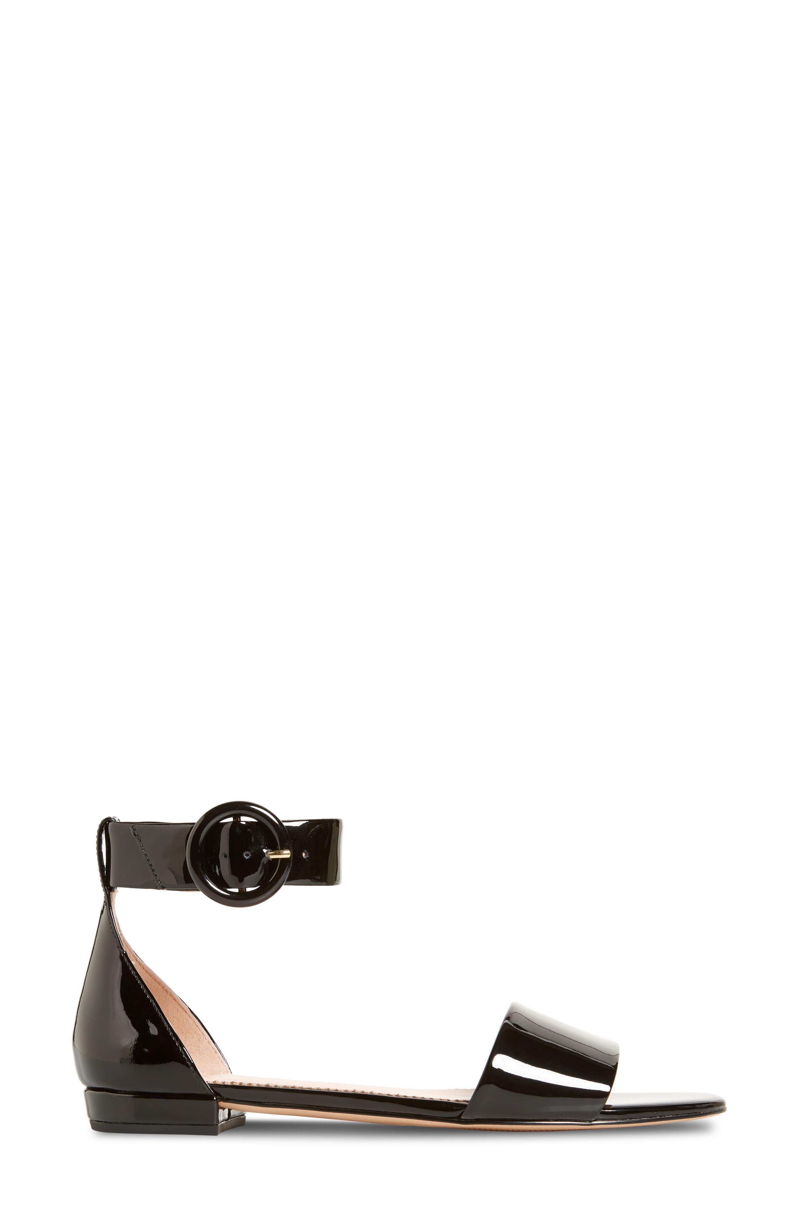 ,                             Ankle Strap Flat Sandal,                             Alternate thumbnail 3, color,                             001